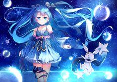 Anime 2046x1448 anime anime girls Vocaloid Hatsune Miku Yuki Miku blue eyes blue hair long hair twintails choker snow dress