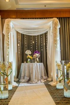 Chuppah decorated with crystals and orchids at The Ritz Carlton, White Plains, NY