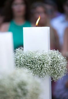 Lampada, wedding candle with baby's breath wreaths- Mitheo Events | Concept Events Styling