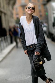 Models Off Duty: Sasha Luss - Street Style, MFW Spring 2015.