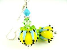 Glass Bead Earrings, Yellow Turquoise Lampwork Earrings, Dangle Earrings, Lampwork Jewelry, Beadwork Earrings, Handmade Drop Earrings
