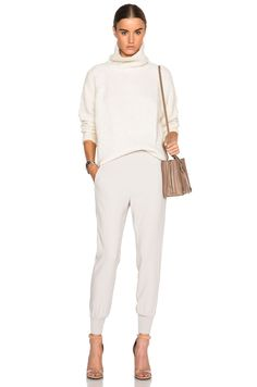 winter whites- off-white turtleneck sweater (Athe by Vanessa Bruno Duffy Sweater in Ecru) + track pants + nude accessories