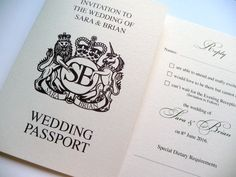 Wedding Passport styled wedding invitation - this design is printed in purple…