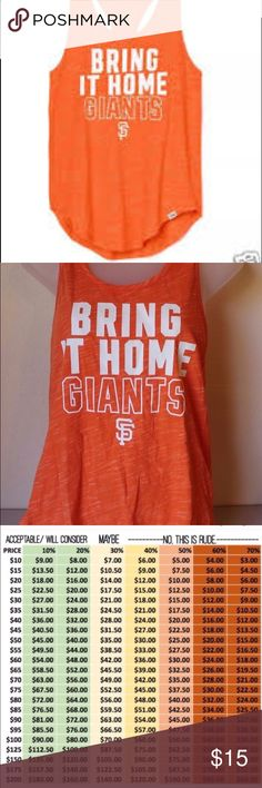 Sf Giants tank top, nwot Fits like a medium. Worn twice to games and still brand new. No longer available. Friendly reminder to do your own research in to authenticity. Don't be an as*hole. No trades, price firm. No exceptions. Rude comments are reported, and blocked.  Tags: anthropologie sephora makeup geek becca taylor swift jaclyn hill kathleen lights becca vans keds hollister Abercrombie disney pink urban outfitters nyx Anastasia kate spade mac dose of colours jeffree star Nike pink…