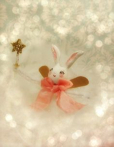 Bunny pixie ornament bunny fairy Easter ornament paper clay bunny rabbit ooak art doll toni Kelly original vintage retro inspired by sugarcookiedolls on Etsy