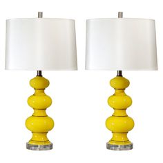 Pair of Vintage Yellow Glass Lamps   From a unique collection of antique and modern table lamps at http://www.1stdibs.com/furniture/lighting/table-lamps/