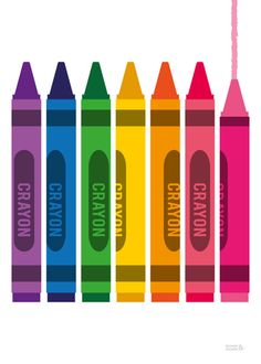 New Multi Coloured Crayons Art Print by Showler and Showler