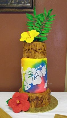 Tropical Themed Cake with Sugar Hibiscus Flowers! By kgoodpasture on CakeCentral.com