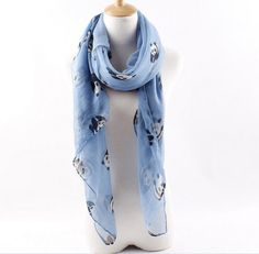 Blue cute Panda scarf Long square shawl by blackbeanblackbean, $7.56