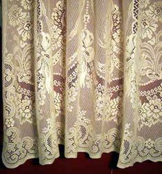 This striking Keeley pattern is reminiscent of the Nottingham Lace from Scotland but is 30%Poly and 70% Cotton.  There is a wide selection all the way from a Swag Pair,Panels, Door Panels and Valance.  Lace Panels start at $39.95.