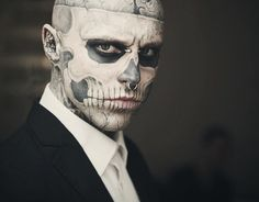 he's sort of beautiful. rick genest is instantly mysterious as human art piece, seen but rarely, if ever, heard. why did he decide to change himself so dramatically? where does he get the confidence?