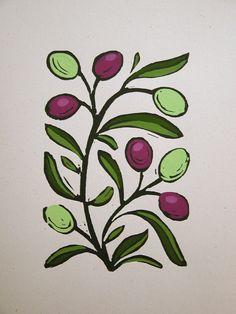 Olive Branch - block print - giardino / Pat, U.S.A.