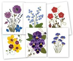 Pressed Flower Cards 6 assorted notecards by VTPressedFlowers Make great gifts for friends, family, coworkers and teachers. Also great stocking stuffers.