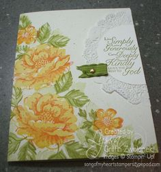 Lyssa Griffin Zwolanek: Stampin' Up Stippled Blossoms; SU inks--Daffodil Delight, Pumpkin Pie ink (flower) and Certainly Celery, Old Olive (leaves) Altenew Cards, Stampin Up Cards, Flower Stamp, Flower Cards, Pretty Cards, Cute Cards, Friendship Cards, Sympathy Cards, Scrapbook Cards