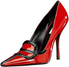 ♥  What is not to love?  Patent red with black detail