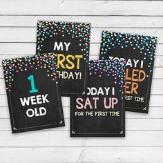 Baby Milestone Cards chalkboard Printable door Anietillustration