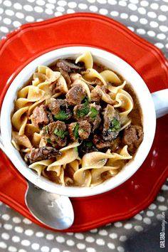 """Friends frequentlytell Patrick he's """"so lucky"""" that I have a food blog because he gets to eat food like this creamy, comforting, hearty Slow Cooker Beef Stroganoff Soup. And they would be right. But what theydon't realizeishe probably had it better before my blog because I still cooked the same, but now I have to...Read More »"""