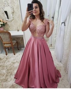 Gorgeous Ball Gown Round Neck Open Back Rose Red Satin Lace Long Prom Dresses, Elegant Evening Dresses Formal Dresses With Sleeves, Wedding Dress With Pockets, A Line Prom Dresses, Grad Dresses, Long Wedding Dresses, Satin Dresses, Sexy Dresses, Long Dresses, Quinceanera Dresses