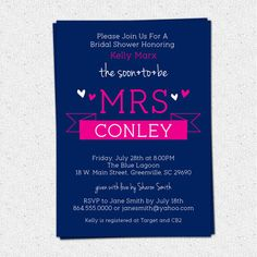Printable Bridal Shower Invitation Soon to be MRS by OhCreativeOne, $16.00