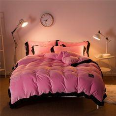 Pink & Black velvet lace mink fleece duvet cover. Tres Chic!