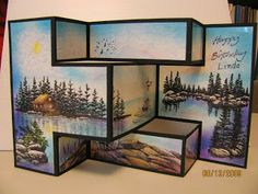 Trish's Artistic Adventures - Stampscapes Tri-fold card - Lakeside View