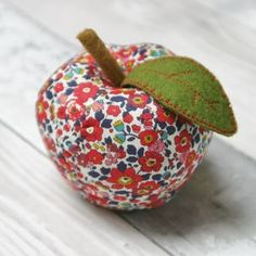 Red Liberty Fabric Apple - decorative accessories