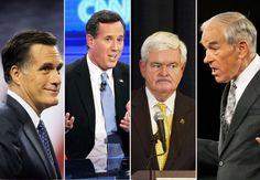 Mitt Romney, Rick Santorum, Newt Gingrich, and Ron Paul.