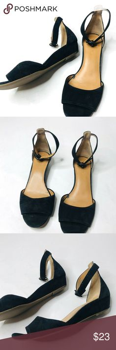 20058b48d9b J. CREW Wedge Black Ankle Strap Women s Sandals
