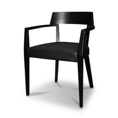 Zen Chair Black Beech  - Designer: Mario Cellini (Replica)  Beechwood Frame Black Faux Leather Seat  glicksfurniture.com.au