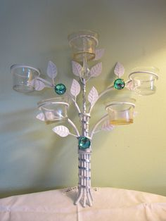 Items similar to White Embellished Wall Sconce Crystal Drop Green Beads Leaf Votive Candle Holder Upcycled - Shabby Chic on Etsy