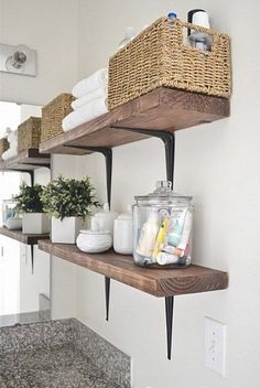 Easy, Simple, and very Cheap. DIY Rustic Shelves can add much needed storage to any bathroom or office space Easy, Simple, and very Cheap. DIY Rustic Shelves can add much needed storage to any bathroom or office space Rustic Bathroom Shelves, Laundry Room Shelves, Farmhouse Laundry Room, Rustic Shelves, Laundry In Bathroom, Bathroom Storage, Storage Room, Storage Shelves, Bathroom Organization