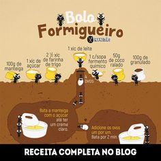 Infográfico receita de Bolo Formigueiro, uma receita muito simples e rápida de preparar. Com uma ótima combinação de sabores. Ingredientes: manteiga, ovo, açúcar, farinha, leite, fermento, coco ralado e granulado.