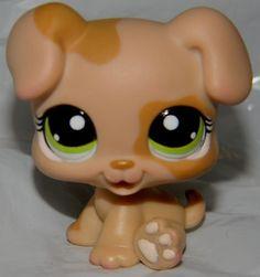 Littlest Pet Shop LPS TAN & CARAMEL BROWN BABY DOG PUPPY GREEN EYES #1353