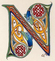 medieval illuminated N - from Nat Neighbour's Board - Lettering Celtic Fonts, Celtic Symbols, Celtic Art, Celtic Dragon, Alphabet Art, Calligraphy Alphabet, Letter Art, Graffiti Alphabet, Islamic Calligraphy