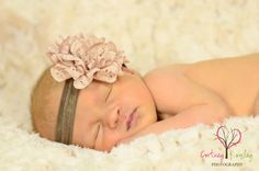 Baby Headband - Baby Girl Headband - Newborn Headband -  Vintage - Toddler Headband - Photo Prop in Mocha Latte'