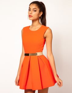 One word: Orange! I love this look with gold! Great dress to go with darker skin tones-holla to my brown beauties! :)  ASOS Floyd Dress Structured Skater with metal Section Belt