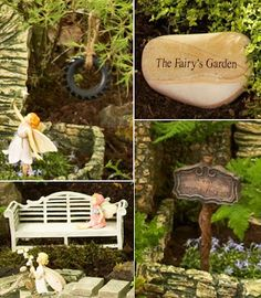 Fairy Garden decorations - most of these items you should be able to find at a craft store that sells miniature doll house furniture