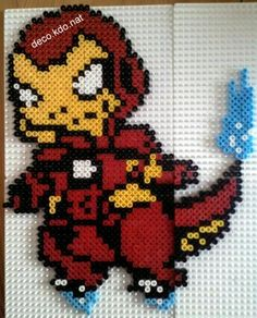 avengers iron man charmander pokemon perler bead design