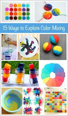 15 Ways for Kids to Explore Color Mixing #artsed @buggyandbuddy // 15 maneras de explorar la mezcla de colores en #edplástica