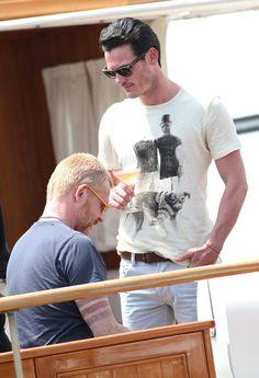 Luke Evans Relaxing On Cavalli's Yacht