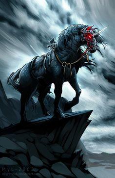 Black Unicorn by *el-grimlock on deviantART  ~ ♥ #unicorn #fantasy #art