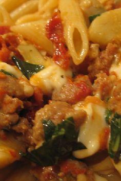 Fusilli #Pasta with Sausage, Artichokes, and Sun-Dried Tomatoes #Recipe