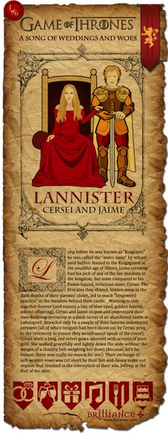 LANNISTER: Cersei and Jaime #Wedding Part 2 of our Game of Thrones: A Song of Weddings and Woes features cards of our favorite couples and the story behind their weddings. How did it go down? Who went? Read on!
