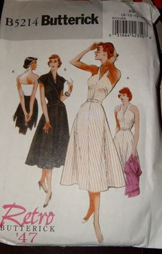 2008 Butterick Dress Pattern B5214 Retro 1947 by TheIDconnection