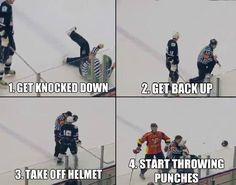 Russian hockey referee fights a player.---Hockey the only sport where the Refs fight back. Blackhawks Hockey, Hockey Goalie, Chicago Blackhawks, Rangers Hockey, Ice Hockey Players, Nhl Players, Funny Hockey Memes, Funny Memes, Hilarious