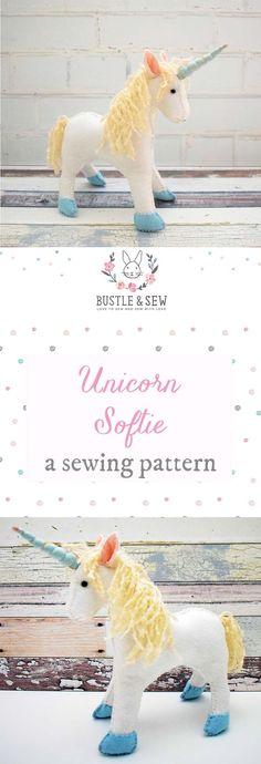 Sewing Crafts For Children Unicorn Softie, PDF sewing pattern - Unicorn Stuffed Animal, Sewing Stuffed Animals, Toy Unicorn, Sewing Toys, Sewing Crafts, Sewing Projects, Sewing Patterns Free, Doll Patterns, Bear Patterns