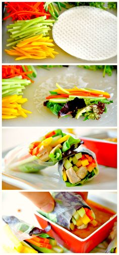 Fresh Spring Rolls with Peanut Dipping Sauce #healthy