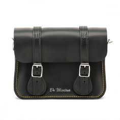 Dr. Martens Black Kiev Leather Satchel 7-Inch (1,400 MXN) ❤ liked on Polyvore featuring bags, handbags, 100 leather handbags, leather purses, genuine leather purse, real leather satchel and satchel handbags