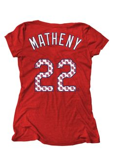 St. Louis (STL) Cardinals Women's Red Mike Matheny Tri-Blend V-Neck T-Shirt by Majestic Threads $36.99 www.rallyhouse.com