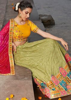 #green #embroidery #lehenga #choli #dupatta #indianwear #traditional #outfit #beautiful #bride #new #designer #collection #ootd #wedding #time #womenswear #online #shopping